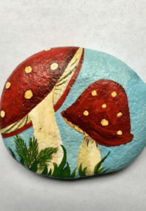 Toadstool Frog painted rock 2