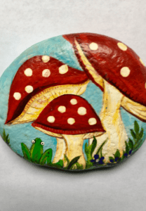 Toadstool Frog painted rock