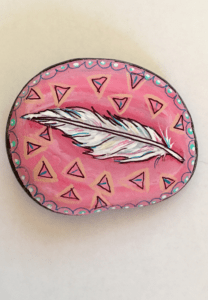 Pink Feather Painted Rock