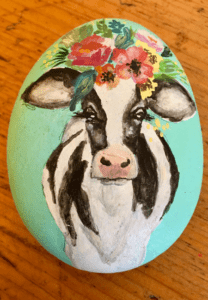 Fancy Cow Rock Painting Giveaway